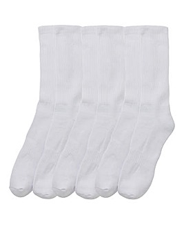 Pack of 6 White Sports Socks