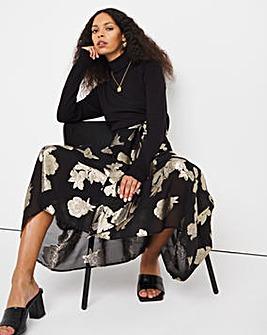 Jo Foil Lurex Midi Skirt