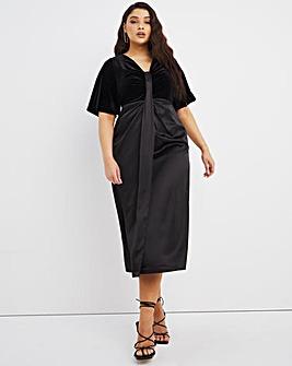 Joanna Hope Velour Satin Mix Dress