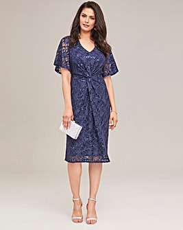 Joanna Hope Sparkle Twist Knot Midi Dress