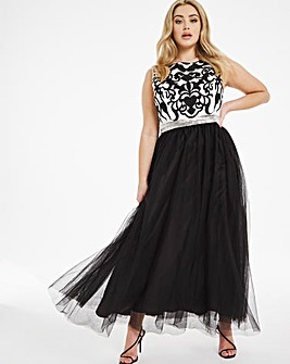 Joanna Hope Contrast Lace Maxi Dress