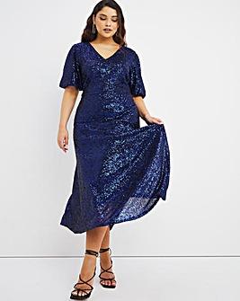 Joanna Hope Machine Sequin Midi Dress