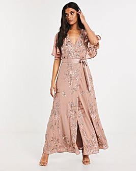 Joanna Hope Sequin Wrap Dress