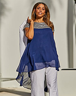 Joanna Hope High Low Sequin Blouse