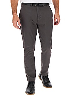 Charcoal Belted Chino Trouser 29""