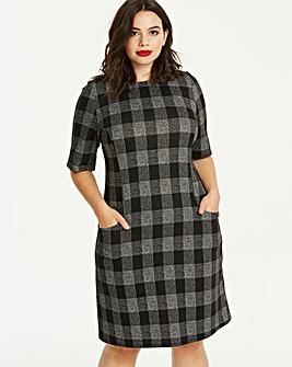 Check Pocket Midi Dress
