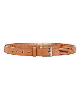Tan Perforated Leather Belt