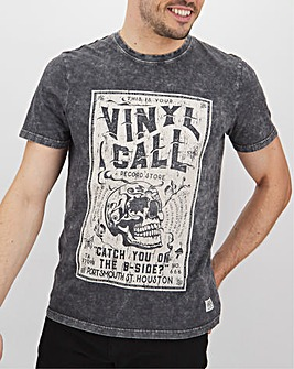 Vinyl Call Acid Wash Graphic T-Shirt