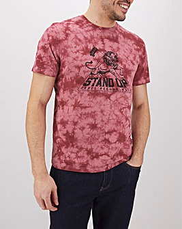 Stand Up Acid Wash Graphic T-Shirt Long