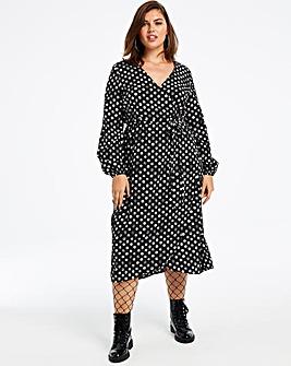 Polka Dot Print Midi Wrap Dress