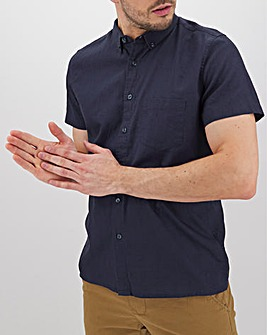 Navy Short Sleeve Linen Mix Shirt Long