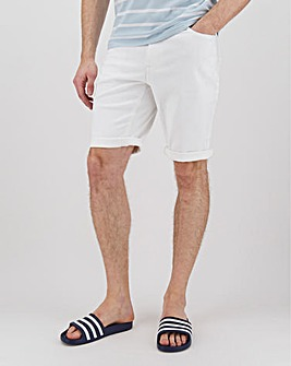 White Gabardine Twill Straight Fit Shorts