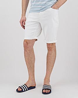 White Gabardine Straight Fit Shorts