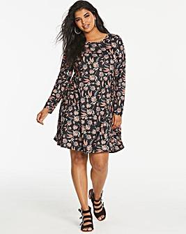 Black Print Long Sleeve Swing Dress