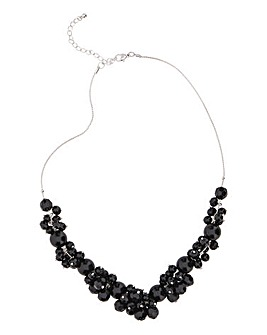 Black Beaded Cluster Necklace