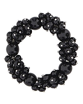 Black Beaded Cluster Bracelet