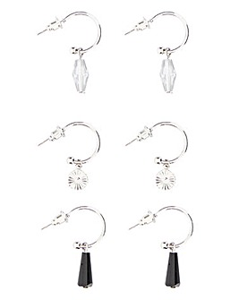 3 Pack Charm Hoop Earrings
