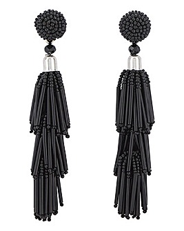Black Beaded Tassel Earring