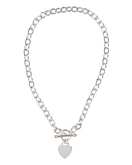 Heart Tag T Bar Necklace
