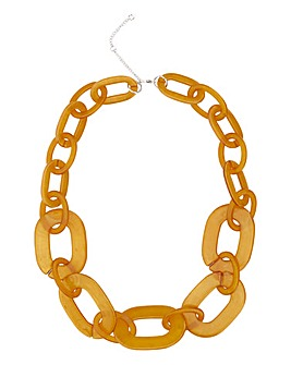 Mustard Resin Chain Necklace