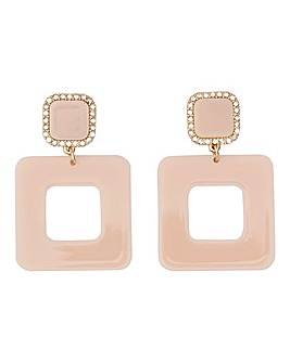 Pastel Pink square drop earrings