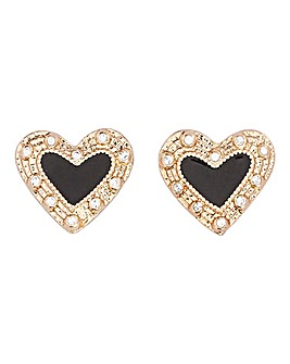 Black Enamel Heart Stud Earrings