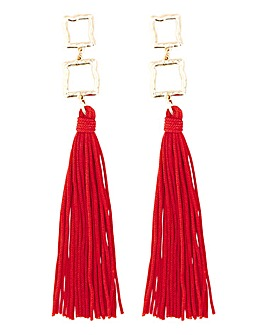 Gold Square and Red Tassel Earrings