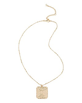 Textured Gold Square Ditsy Necklace