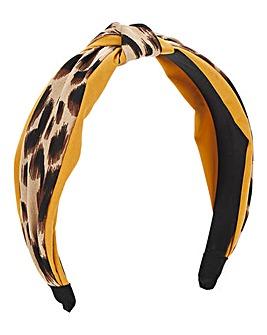 Mustard & Leopard Knot Headband
