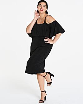 Strappy Bardot Midi Bodycon Dress