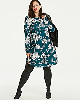 Teal Print Long Sleeve Swing Dress