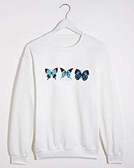 Blue Butterfly Printed Sweatshirt