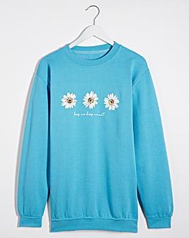 Blue Daisy Print Sweatshirt