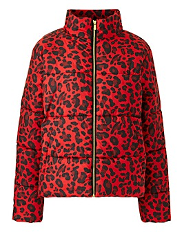 Lasula Red Leopard Print Puffer Jacket