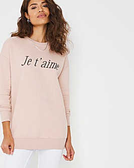 Ja T'aime Side Zip Sweatshirt