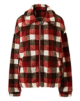 Lasula Checked Teddy Fur Jacket