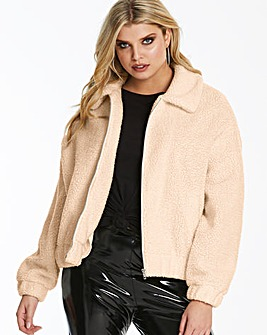 Lasula Stone Teddy Faux Fur Stone Trucker Jacket