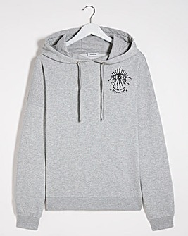 Grey Oversized Graphic Printed Hoodie