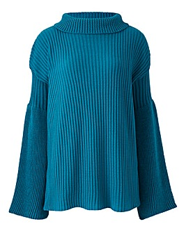 Lasula Wide Sleeve Roll Neck Jumper