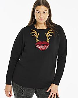 Novelty Antlers Xmas Sweatshirt