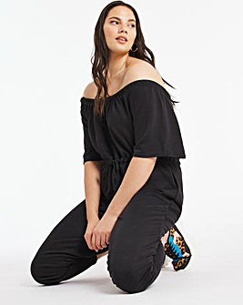 Black Drawstring Waist Jumpsuit