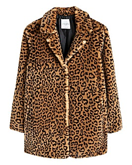 Violeta By Mango Animal Faux Fur Coat