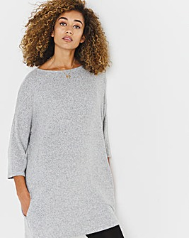 Grey Marl Soft Touch Side Pocket Tunic
