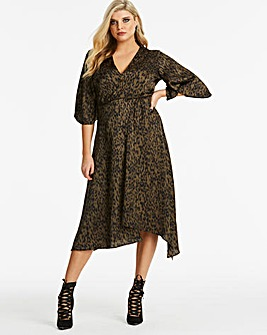 Ax Paris Curve Leopard Asymmetric Dress