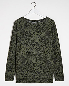 Khaki Animal Soft Touch Long Sleeve Top