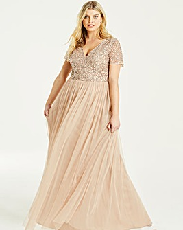 Maya Curve V neck Cap Sleeve Maxi Dress