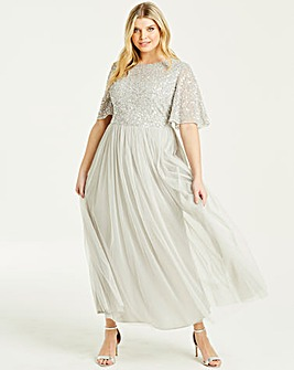 Maya Curve Flutter Sleeve Maxi Dress