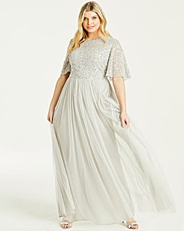 Maya Curve Flutter Sleeve Maxi Dress