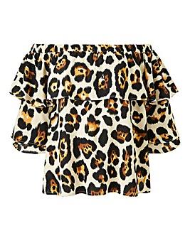 Ax Paris Curve Leopard Print Bardot Top