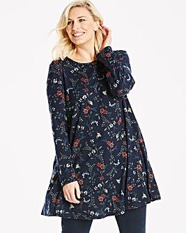Apricot Floral Print Swing Dress